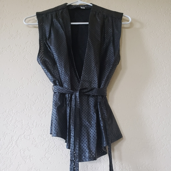 Vintage 80s 90s thin leather layering vest